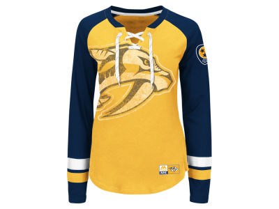 Nashville Predators Majestic NHL Women's Hip Check Long Sleeve T-Shirt