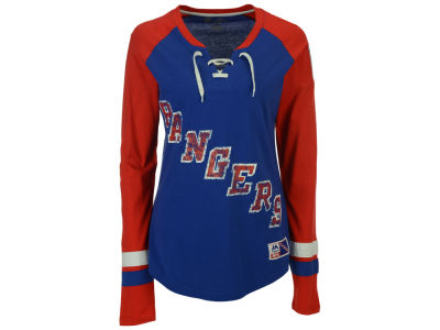 New York Rangers Majestic NHL Women's Hip Check Long Sleeve T-Shirt