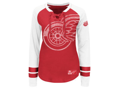 Detroit Red Wings Majestic NHL Women's Hip Check Long Sleeve T-Shirt