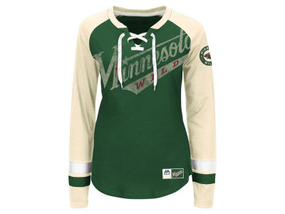 Minnesota Wild Majestic NHL Women's Hip Check Long Sleeve T-Shirt