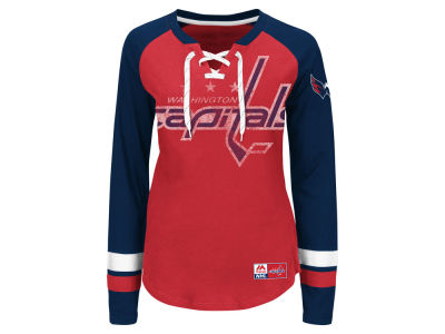 Washington Capitals Majestic NHL Women's Hip Check Long Sleeve T-Shirt