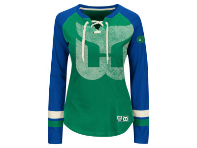 Hartford Whalers Majestic NHL Women's Hip Check Long Sleeve T-Shirt