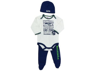 Seattle Seahawks NFL Newborn Bodysuit Footed Pant Cap Set