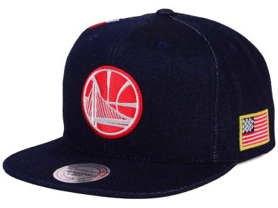 Golden State Warriors Mitchell and Ness NBA USA Denim Snapback Cap
