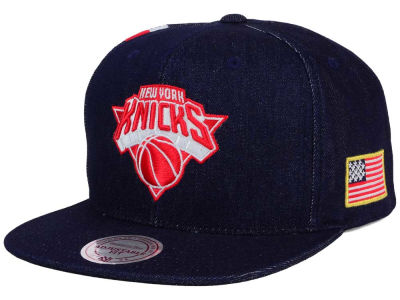 New York Knicks Mitchell and Ness NBA USA Denim Snapback Cap