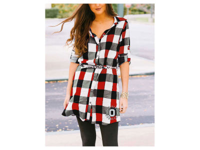 Ohio State Buckeyes NCAA Women's Plaid Tunic Dress