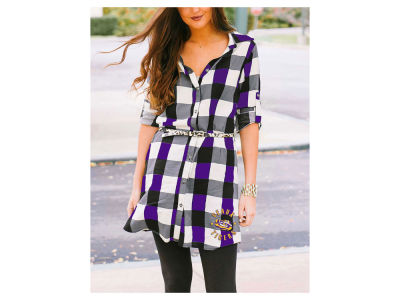 LSU Tigers NCAA Women's Plaid Tunic Dress