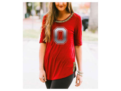Ohio State Buckeyes Gameday Couture NCAA Women's Beaded Neckline Half Sleeve T-Shirt