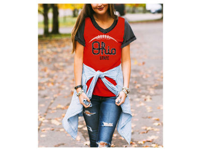 Ohio State Buckeyes Gameday Couture NCAA Women's Herringbone Football T-Shirt
