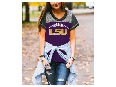 LSU Tigers Gameday Couture NCAA Women's Herringbone Football T-Shirt