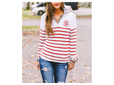Ohio State Buckeyes Gameday Couture NCAA Women's Striped Lurex 1/4 Zip