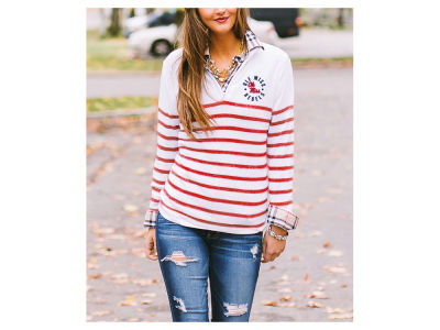 Ole Miss Rebels Gameday Couture NCAA Women's Striped Lurex Quarter Zip Pullover