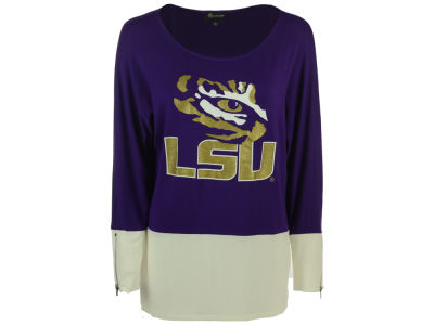 LSU Tigers Gameday Couture NCAA 2015 Women's Colorblock Zipper Tunic Top Shirt