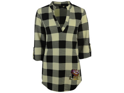 LSU Tigers Gameday Couture NCAA Women's Squared Away Plaid Tunic Top