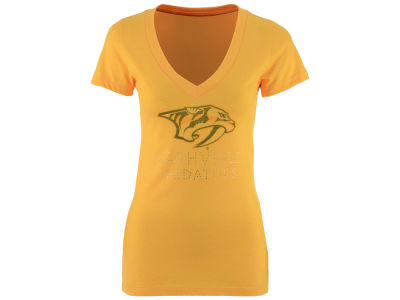Nashville Predators NHL Women's Team Text Rhinestone T-Shirt
