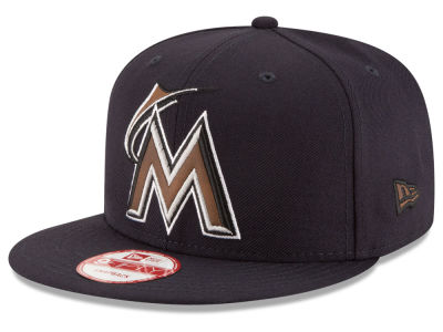 Miami Marlins New Era MLB Smoove Leather Logo 9FIFTY Snapback Cap