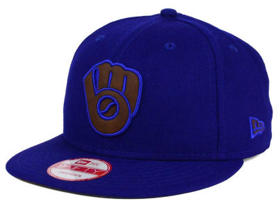 Milwaukee Brewers New Era MLB Smoove Leather Logo 9FIFTY Snapback Cap