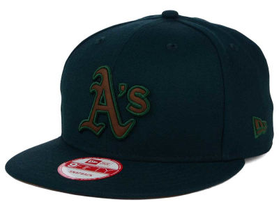 Oakland Athletics New Era MLB Smoove Leather Logo 9FIFTY Snapback Cap