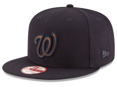 Washington Nationals New Era MLB Smoove Leather Logo 9FIFTY Snapback Cap