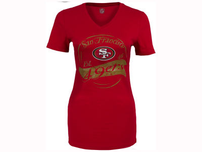 San Francisco 49ers NFL CN Women's Cherry V-Neck T-Shirt