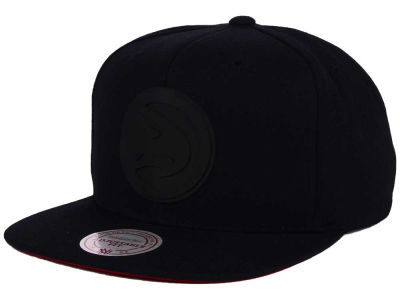 Atlanta Hawks Mitchell and Ness NBA Black Rubberized Logo Snapback Cap