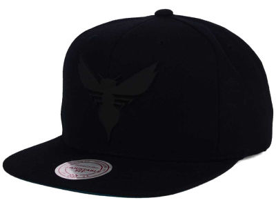 Charlotte Hornets Mitchell and Ness NBA Black Rubberized Logo Snapback Cap
