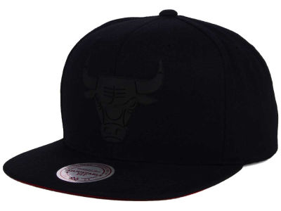 Chicago Bulls Mitchell and Ness NBA Black Rubberized Logo Snapback Cap