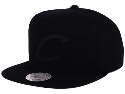 Cleveland Cavaliers Mitchell and Ness NBA Black Rubberized Logo Snapback Cap