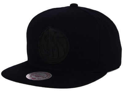 Dallas Mavericks Mitchell & Ness NBA Black Rubberized Logo Snapback Cap