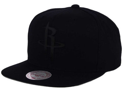 Houston Rockets Mitchell and Ness NBA Black Rubberized Logo Snapback Cap