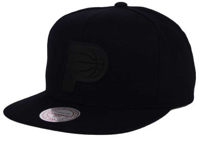 Indiana Pacers Mitchell and Ness NBA Black Rubberized Logo Snapback Cap