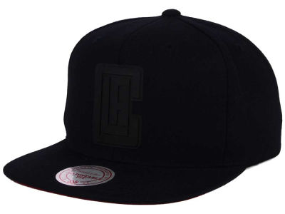 Los Angeles Clippers Mitchell and Ness NBA Black Rubberized Logo Snapback Cap