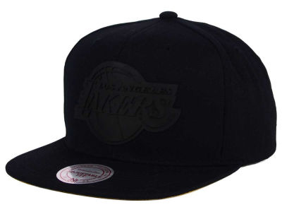 Los Angeles Lakers Mitchell and Ness NBA Black Rubberized Logo Snapback Cap