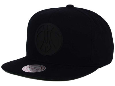 Milwaukee Bucks Mitchell and Ness NBA Black Rubberized Logo Snapback Cap