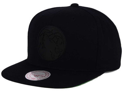 Minnesota Timberwolves Mitchell and Ness NBA Black Rubberized Logo Snapback Cap