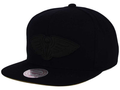 New Orleans Pelicans Mitchell and Ness NBA Black Rubberized Logo Snapback Cap