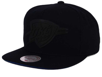 Oklahoma City Thunder Mitchell and Ness NBA Black Rubberized Logo Snapback Cap