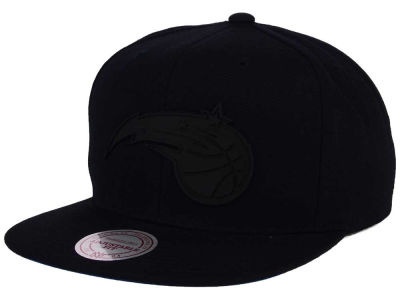 Orlando Magic Mitchell and Ness NBA Black Rubberized Logo Snapback Cap