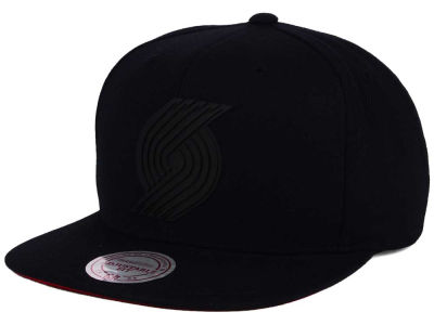 Portland Trail Blazers Mitchell and Ness NBA Black Rubberized Logo Snapback Cap