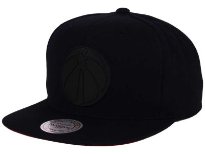 Washington Wizards Mitchell and Ness NBA Black Rubberized Logo Snapback Cap