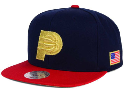 Indiana Pacers Mitchell and Ness NBA USA 2 Tone Snapback Cap