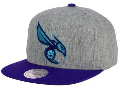 Charlotte Hornets Mitchell and Ness NBA Heather Metallic Snapback Cap