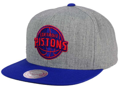 Detroit Pistons Mitchell and Ness NBA Heather Metallic Snapback Cap