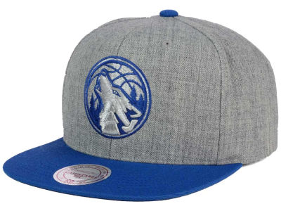 Minnesota Timberwolves Mitchell and Ness NBA Heather Metallic Snapback Cap