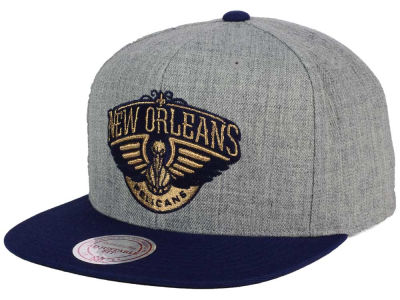New Orleans Pelicans Mitchell and Ness NBA Heather Metallic Snapback Cap