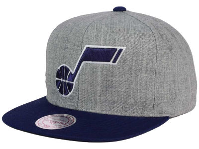 Utah Jazz Mitchell and Ness NBA Heather Metallic Snapback Cap