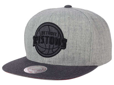 Detroit Pistons Mitchell and Ness NBA Double Heather Snapback Cap