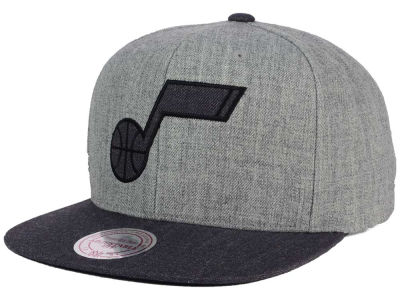 Utah Jazz Mitchell and Ness NBA Double Heather Snapback Cap