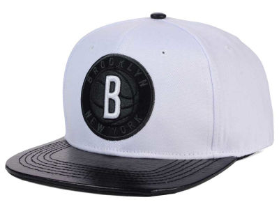 Brooklyn Nets Pro Standard NBA White Black Leather Strapback Hat