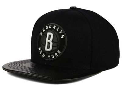 Brooklyn Nets Pro Standard NBA Black on Black Leather Strapback Cap